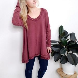 Altard State Maroon Lace Burnout Tunic Top Blouse
